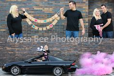Gender Reveal! Pink Exhaust Powder we ordered on amazon. Very simple, somewhat messy but wipes off easy. Ordered the banner on amazon as well. **Note that as soon as you turn the car on the powder will be ready to shoot out, so make sure your camera is ready to go and you both are smiling and prepared and REV that car!!** Was such a fun gender photoshoot and our friends and family loved it.