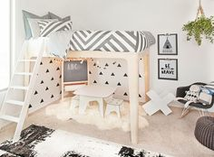How fun is this whimsical play space under the @oeufnyc loft bed?!