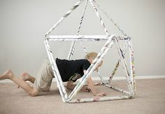 DIY fort for kids made from repurposed paper