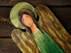 Handmade angel, wooden angel, handmade decoration Wooden Angel, Handmade Angels, Handmade Decorations, Painting On Wood, Art, Kunst, Handmade Ornaments, Art Education, Artworks