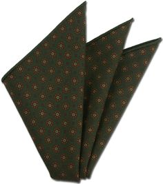 Macclesfield Green Pattern Challis Wool Pocket Square #6