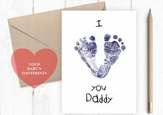 I love you daddy baby footprints card for daddy cute