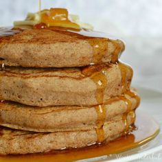 Save this Gingerbread Spice Vegan Pancake Recipe for your next family holiday breakfast! Loaded with gingerbread flavor and topped with Ginger Maple Syrup!