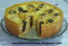 RECEITAS AUSTRÍACAS E ALEMÃS - DOCES: TORTA DE MAÇÃS RECHEADAS COM AMEIXAS AO RUM - Bratapfelkuchen mit Rumpflaumen
