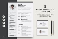 Resume/CV - 5 Pages ~ Resume Templates ~ Creative Market If you like this cv template. Check others on my CV template board :) Thanks for sharing! Cover Letter Template, Cv Template, Letter Templates, Resume Templates, Resume Cv, Resume Design, Resume Tips, Sample Resume, Resume Format