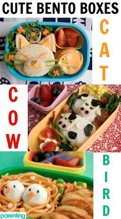 These animal-themed Bento Boxes are inspiration for healthy recipes and meals that are also adorable and fun for your kids! Such cute lunch ideas. Cute Bento Boxes, Bento Box Lunch, Animal Themed Food, Animal Food, Baby Food Recipes, Healthy Recipes, Bento Recipes, Boite A Lunch, Tummy Yummy