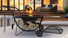 Enhance your garden and your mealtimes with the Portable Fire Pit Barbecue