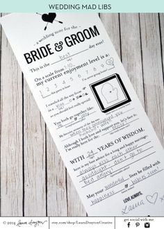 Wedding Mad Libs Printable Note for the by LauraDraytonCreative Love this and want to have this for guest while they are waiting at the reception.