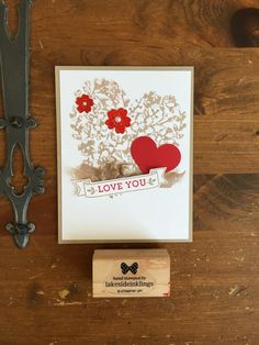 Stampin' Up! Bloomin' love, love blossoms dsp, bloomin' heart thinlits due. #valentines 2016! www.lakesideinklings.stampinup.net