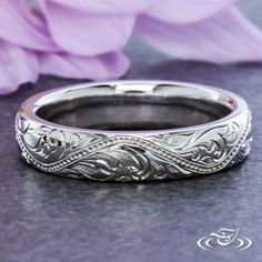 Design Your Own Unique Custom Jewelry at Green Lake Jewelry Works! Custom Platinum band with scroll engraving and reverse milgrain
