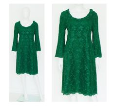M Vintage Couture Evening Dress Green Lace Silk. €239,00, via Etsy.