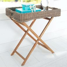 Wicker Tray with Stand