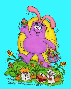 Happy Easter from Grimace, The Happy Meal Puppets and Me. McDonaldland. Cartoon. Art Director. Rich Seidelman. Ronald McDonald. Easter. Bunny Ears. McDonald's. Illustration. Storyboard Artist. Hamburger. Soft Drink. French Fries. Chicken McNugget Buddies. McNuggets. Happy Easter, Easter Bunny, Storyboard Artist, Soft Drink, Classic Cartoons, French Fries, Art Director, Cartoon Art, Puppets