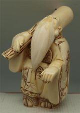 Hand Carved Bone Figure of Oriental God of Longevity Jurojin - 7 Gods of Fortune