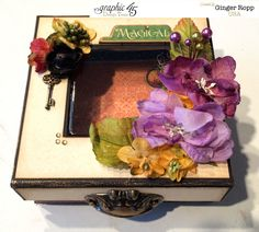 Wonderful altered An Eerie Tale mixed media box by Ginger shared on the Paper Crafter's Library blog today! #graphic45