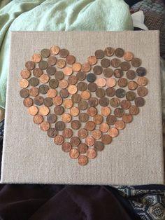 Penny Mosaic on Burlap Canvas on Etsy, $18.50