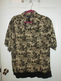 Axcess Men a Claiborne Co. Black Beige Casual Hawaiian Shirt Size M