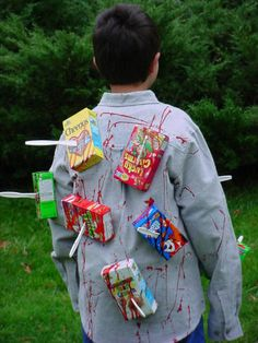 cereal killer - mini boxes of cereal stabbed with plastic knives glued to shirt spattered with blood. HALLOWEEN!!!