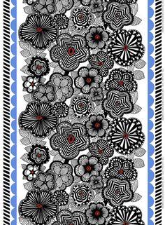 Maija Fabric White/Black/Blue | Kiitos Marimekko