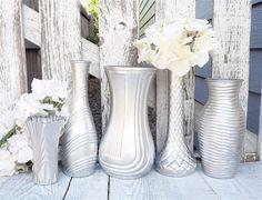 Silver SHABBY Vase  Shabby Chic Painted Glass by HuckleberryVntg, $39.00