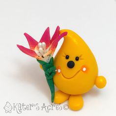 Parker Holding a Lily - Polymer Clay Character Figurine by KatersAcres on Etsy