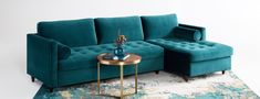 Surround yourself in style with the tufted elegance and plush comfort of this infinitely customizable sleeper sectional. Modern Sleeper Sofa, Sectional Sleeper Sofa, Home Living Room, Apartment Living, Living Room Decor, Furniture Styles, Cool Furniture, Blue Tufted Sofa, Pink Sofa
