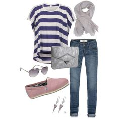 Casual Outfit for Fall match stripes with denim and boots and cream beanie!