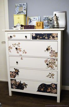 This is one of the more beautiful Ikea makeovers that I've seen! Refurbished Furniture, Cool Furniture, Furniture Design, Ikea Pax, Floral Painted Furniture, Decoracion Low Cost, Small Dresser, Inside Home, Spring Home