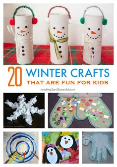 20 winter crafts for preschoolers that are easy and fun! love the snowmen for gifts