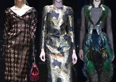 Milan Fashion Week-Gucci A/W 2013/14-Blurred Tweeds and Dogtooth Checks – Opulent Gold Leaf Prints – Highlighted Areas – Sculptural Fringe and Sequin Embellishments – Ferns, Plumes and Feathers