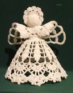 Unusual Christmas Trees, Rustic Christmas Ornaments, Hanging Ornaments, Christmas Angels, Angel Ornaments, Crochet Socks Pattern, Crochet Snowflake Pattern, Christmas Crochet Patterns, Crochet Snowflakes