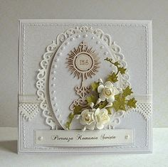 Galeria de Papel Paper Crafts Wedding, First Communion Cards, Confirmation Cards, Quilled Paper Art, Wedding Cards Handmade, Christian Cards, Fancy Fold Cards, Marianne Design, Sympathy Cards