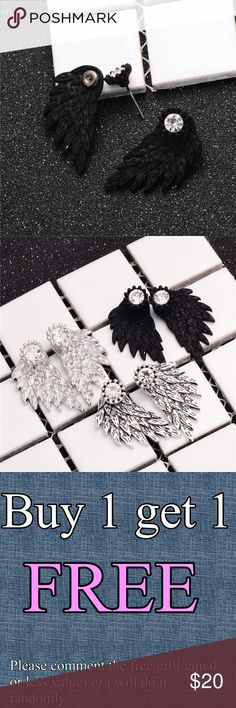 "Black angel 😇 wings rhinestones stud earrings ✨They are even prettier in person.  ✨NICKEL FREE  ✨BUY 1 Get 2 FREE (equal or less value)      - Price is firm except bundle      - Material: Alloy      - Color: Black      - Size: 1.27"" x 0.67"" (Approx.)      - New- 1 pair  Keywords to what I sell: sterling silver silver plated jewelry white and yellow gold filled earrings ring bracelet bangles necklace anklet brecelet baby small medium large huge hoop earrings Stud earrings fashion jewelry…"