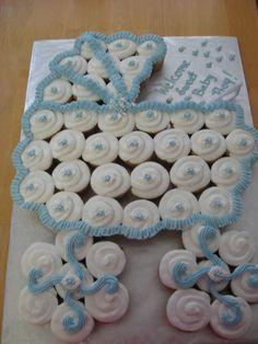 regular size cupcakes shaped like a babybuggy.
