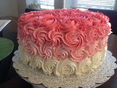 Pink ombré roses cake