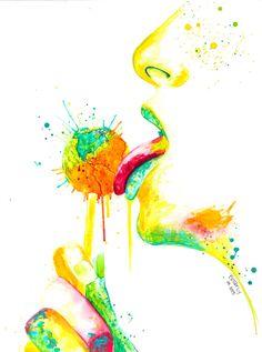"""Konsumwelt - Original Painting by Buttafly - 60 x 80 cm (23,6"""" x 31,5"""") malerei, lollipop, lutscher,  gesicht, face, world, welt, lips, lippen"""