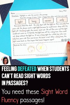 This sight word reading intervention resource contains 55 fluency passages that are packed with targeted sight words. If you have students who can quickly read sight words on a flashcard but struggle to read the words within the context of a story, this resource is a game-changer! Word Reading, Reading Fluency, Reading Passages, Reading Lesson Plans, Reading Lessons, Sight Word Activities, Reading Activities, Reading Difficulties, Small Group Reading
