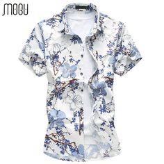 MOGU Short Sleeve Men's Shirt Floral Hawaiian Shirt 2017 Summer New Fashion Print Casual Mens Dress Shirts Plus Size Men Shirts #Affiliate