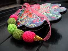 Crochet Pink Necklace /Dangle Statement by Nimmet on Etsy
