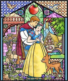 snow white, stained glass, disneyland park, the magic the memories and you