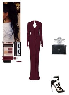 """Untitled #526"" by insafsat on Polyvore featuring Roland Mouret, Jimmy Choo, Yves Saint Laurent, MAC Cosmetics, Charlotte Tilbury and BBrowBar"