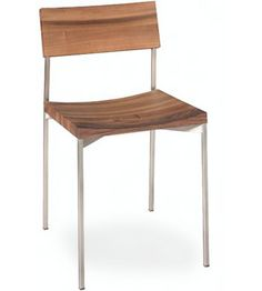 Name: Ch01 Hans chair  Designer: Phillpp Mainzer  MFG: E 15  Material: European walnut, stainless stell  Interest: To ensure comfortable sitting combine with clear lines, the backrest and seat have a cured shaped