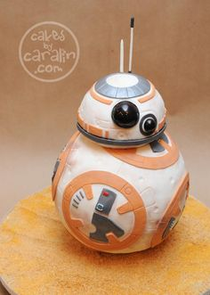 Star Wars' BB-8 Cake.  3d carved cake of the cute new droid!  Cakes by Caralin.  https://cakesbycaralin.wordpress.com/2015/12/22/star-wars-bb-8-cake/