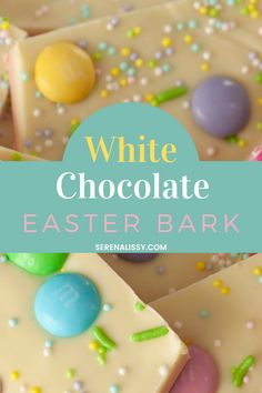 This White Chocolate Easter Bark recipes uses only 3 ingredients and the process is simple. It's easy enough for kids too! Melt your chocolate of choice, add some sprinkles and whatever other Easter colored candies you want. Then pour onto parchment paper lined baking sheets. Chill until set then break into pieces when ready to serve. This is one of my favorite recipes because I love the colors this bark brings to life! Head to the blog for this easy Easter Bark recipe! Chocolate Candy Recipes, Chocolate Treats, Homemade Chocolate, Easter Chocolate, White Chocolate, Bark Recipe, Easter Candy, Parchment Paper, Recipe Using