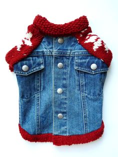 I shit you not; this is a dog jean jacket. Denim Dog Jacket with Red and White Snowflake Sleeves (XS)