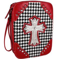 $12.00 Woven Houndstooth Bible Cover with Silvertone Cross Bible Covers, Roll Tide, Houndstooth, Saddle Bags, Alabama, Chain, Cute, Sports, Red