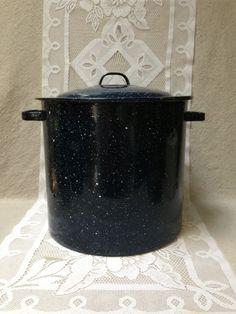 Vintage Enamelware Stock Pot, Dark Blue Enamelware, Graniteware, Large Kitchen Pot on Etsy, $20.00