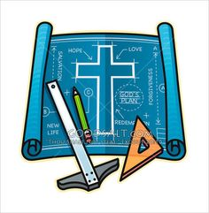 Blueprints With Drafting Tools and Cross Construction Theme Classroom, Under Construction Theme, Vbs Themes, School Themes, Maker Fun Factory Vbs, Sunday School Classroom, Drafting Tools, Church Activities, Bible Activities