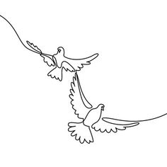 Vector - Continuous one line drawing. Flying two pigeons logo. Black and white vector illustration. Concept for logo, card, banner, poster, flyer Minimal Drawings, Simple Line Drawings, Easy Drawings, Pigeon Logo, Continuous Line Tattoo, Minimalist Drawing, Abstract Line Art, Pen Art, Wire Art