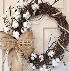 Cotton Grapevine Wreath with Burlap and Mossy Branches; Country Decor Wreath; Primitive Decor Wreath; Rustic Decor Wreath with Burlap Cotton by ChewsieCreations on Etsy